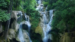 Tat kuang si waterfall scene Stock Footage