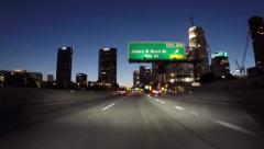 Los Angeles Harbor 110 Freeway Downtown Exit Night Driving Stock Footage