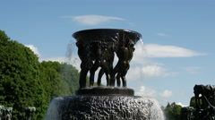 Close up from the fountain in Vigeland sculpture park Oslo Norway Stock Footage