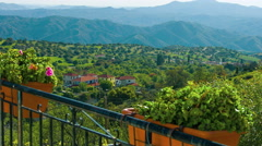 View from luxury villa. Beautiful nature, mountains on horizon. Green tourism Stock Footage