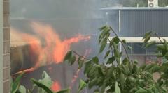 School Fire Fire wraps round (Tilt) Stock Footage