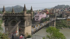 Suspension bridge over Beas river,Mandi,Himachal Pradesh,India Stock Footage