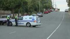 Police road block Stock Footage