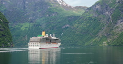 Cruise Ship in Norwegian Fjord Stock Footage