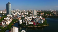 Hanoi aerial city view with lake. 4K resolution. June 2015 Stock Footage