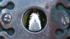 St.peter basilica seen from the key hole lock of the Knights of Malta Stock Footage