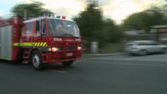 Fire Truck races to fire Stock Footage