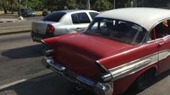 Old Cars in Vedado neighborhood, Havana, Cuba Stock Footage