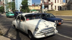 Stock Video Footage of White old Chevy in Havana, Cuba