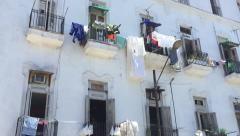 Balconies with laundry in the center of the old city of Havana, Cuba Stock Footage