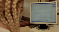 Neurologist monitoring functions of brain on monitor, close up. Neurology. Eeg. - stock footage