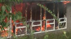 Stock Video Footage of School Fire Classroom Window frame alight