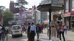 Traffic police helps tourists on the Ridge,Shimla,Himachal Pradesh,India Stock Footage