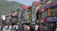 People walking down Mall Road,Shimla,Himachal Pradesh,India Stock Footage