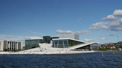 Time lapse from the Oslo Opera House in Norway Stock Footage