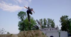 Extreme Sport - Bike Crash on Big dirt Jump - Tailwhip on BMX Stock Footage