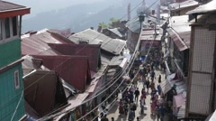 People walking in busy small roads,Shimla,Himachal Pradesh,India Stock Footage