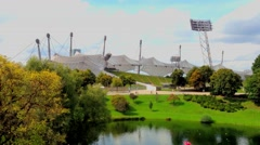 The Olympic Stadium and Olympic Park in Munich, Germany Stock Footage