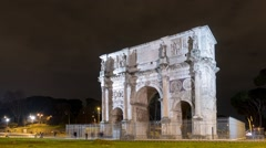 Arch of Constantine. Night. Zoom. Rome. Italy. Time Lapse. 1280x720 Stock Footage
