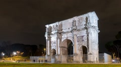 Arch of Constantine. Night. Zoom. Rome. Italy. Time Lapse Stock Footage
