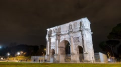 Stock Video Footage of Arch of Constantine at night. Rome. Italy. TimeLapse. 1280x720