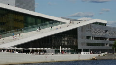 Side of the Oslo Opera House in Norway Stock Footage