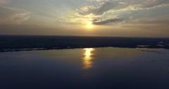 Aerial - Flight over the wetland Kalohori at sunset, Thessaloniki, Greece Stock Footage