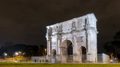 Arch of Constantine. Night. Rome. Italy. Time Lapse. 4K Stock Footage