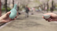 Pouring sake in a cup during hanami party in Tokyo Stock Footage