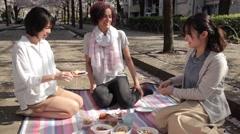 Multi-ethnic young women enjoying hanami party in Tokyo Stock Footage