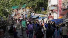 Busy small shopping street,Shimla,Himachal Pradesh,India Stock Footage