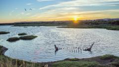 4K Sunset Time lapse landscape view from Olhao to Ria Formosa wetlands Stock Footage