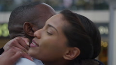 4k Attractive ethnic couple in love, saying goodbye at train station Stock Footage