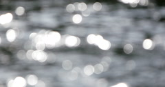 Flowing river water out-of-focus bokeh Stock Footage