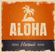 Vector aloha word in vintage colors, retro background - stock illustration