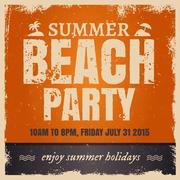 Summer beach party in retro hot style with orange background - stock illustration