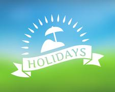 Stock Illustration of Holidays ribbon icon on nature background.