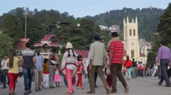 Tourists walking on the Ridge,Shimla,Himachal Pradesh,India Stock Footage
