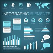 Aquamarine colour infographic elements Stock Illustration