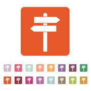 The signpost icon. Pointer symbol. Flat - stock illustration