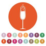 The glass of champagne icon. Wine symbol. Flat Stock Illustration