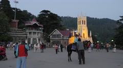 Tourists on the Ridge  in the evening,Shimla,Himachal Pradesh,India Stock Footage