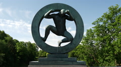 Sculpture in Vigeland sculpture park Oslo Norway Stock Footage