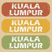 Vintage Kuala Lumpur stamp set - stock illustration