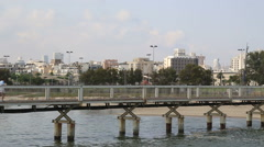 Old Tel Aviv Port Bridge Stock Footage