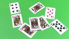 Playing cards thrown Stock Footage