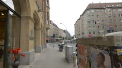Walking on Munzstrasse in Berlin Stock Footage
