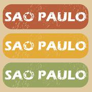 Vintage Sao Paulo stamp set - stock illustration