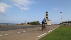 Bike route in Tel Aviv Port Stock Footage