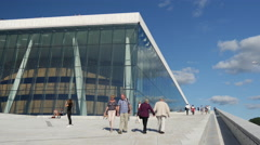 Time lapse from people at the Oslo Opera House in Norway Stock Footage